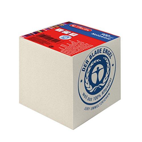 Herlitz Notizklotz Geleimt UWS-Papier, blauer Engel, 1 Stück in Folienpackung, 900 Blatt, 9 x 9 x 9 cm, grau