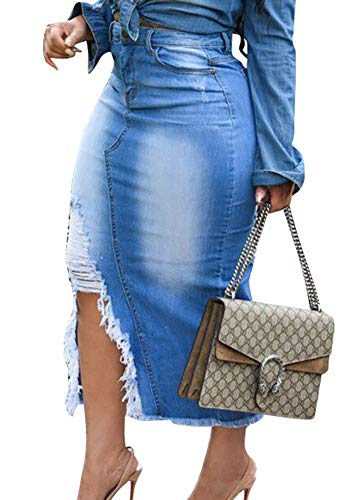 Voghtic Womens Sexy Distressed Ripped Denim Jean Split High Waisted Pencil Skirt Plus Size for Party
