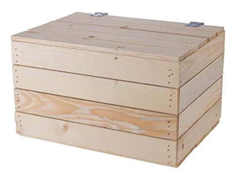 Kontorei 1-3 x Schlichte Holzkisten Natur mit praktischem Deckel, schön zur Aufbewahrung oder als Heimwerkertruhe, neu, 48x36x28cm (1) - 3