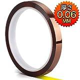 Teenitor 耐熱ポリイミドテープ 幅10mm×長さ33m×厚さ0.06mm カプトン粘着テープ 電気絶縁用テープ ポリミドテープ 耐熱性テープ 絶縁耐熱テープ