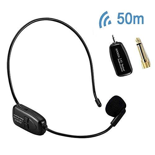 Wireless Microphone Headset, XIAOKOA 2.4G Wireless Mic, 50m Stable Wireless Transmission, Headset and Handheld 2 in 1, for Voice Amplifier, Camera Recording, Speaker