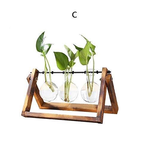 Glass and Wood Vase Planter Terrarium Table Desktop Hydroponics Plant Bonsai Flower Pot Hanging Pots with Wooden Tray Popular : C