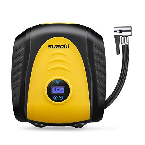 SUAOKI Arrêt Automatique Compresseur d'air Portable 150PSI Pression 3 Nouveaux Adapteurs de Buse Gonfleur de Pneu 12V 3m Câble Longue Portée 3 et Affichage LED...