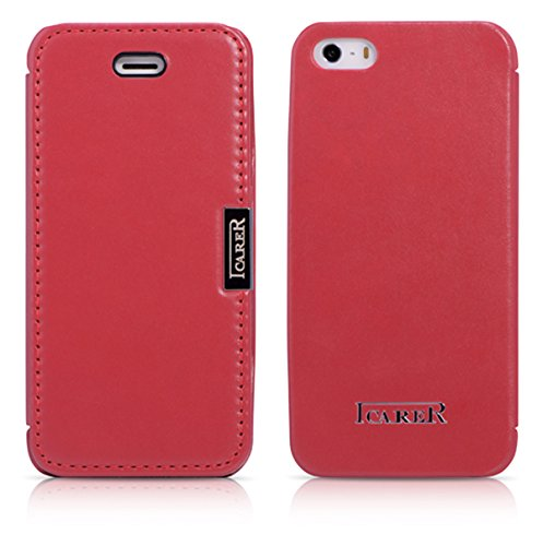 ICARER Tasche passend für Apple iPhone SE (2016), iPhone 5S und iPhone 5, Case Außenseite aus Echt-Leder, Schutz-Hülle seitlich klappbar, Ultra-Slim Cover, Hell-Rot