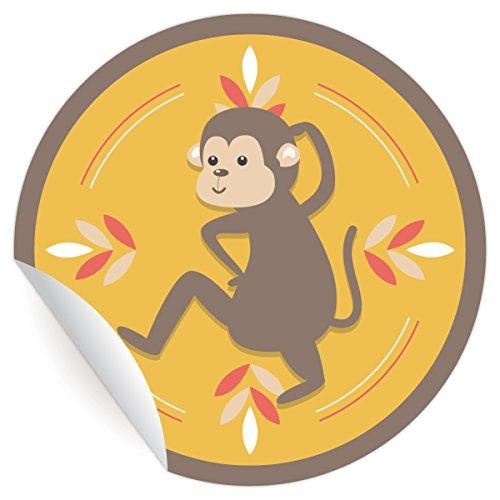 24 lustige Affen Aufkleber in edlen Farben, MATTE universal Papieraufkleber für Geschenke, Etiketten für Tischdeko, Pakete, Briefe und mehr (ø 45mm
