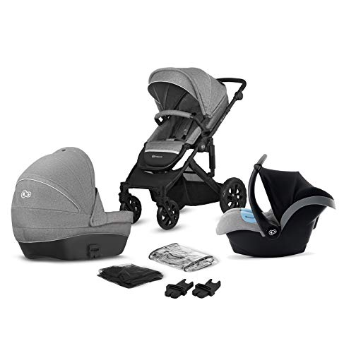 Kinderkraft Pram 3in1 Set Prime LITE, Travel System, Baby Pushchair, Buggy, Foldable, with Infant Car Seat, Carrycot, Accessories, Rain Cover, Footmuff, from Birth to 3.5 Years, Gray