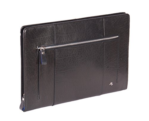 House of Luggage Dossier Folio de Conférence en Cuir Documents A4 Organisateur Manchon de Tablette Sac à l'aisselle HLG102 Noir