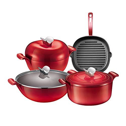 Combinaison de casserole antiadhésive Shabu-shabu, cuisinière binaurale pour approfondir le wok avec un revêtement en céramique antiadhésif facile à nettoyer
