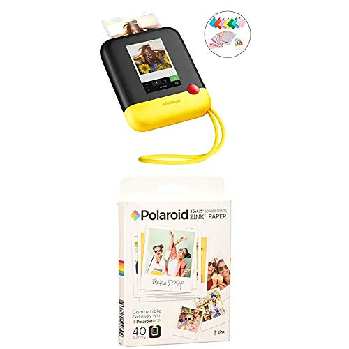 Polaroid Pop 2.0 2 in 1 Wireless Portable Instant 3x4 Photo Printer & Digital 20MP Camera (Yellow) with 3.5 x 4.25 inch Premium Zink Border Print Photo Paper (40 Sheets)