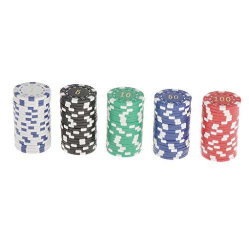 Dailymall Pack Of 100 Clay Poker Chips for Gambling Poker Game, Mahjong...