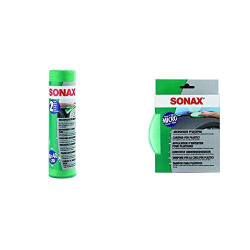SONAX MicrofaserTücher Plus Innen & Scheibe extrem fein ohne Streifen, Schlieren und Fusseln & MicrofaserPflegePad (1 Stück) für gleichmäßiges Auftragen von Kunststoffpflegemitteln im Innenraum