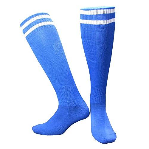 Merssavo Les longues Chaussettes Football Plaine Haute de Genou Chaussettes Rugby Hockey Soccer Bleu 16-26cm