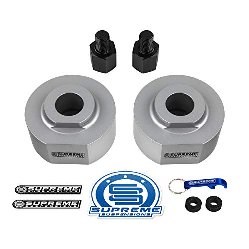 """Supreme Suspensions - Front Leveling Kit for 1983-1996 Ford Ranger 2"""" Front Lift T6 Billet Aluminum Spring Spacers with 5/8"""" Stud Extenders 4WD (Silver)"""