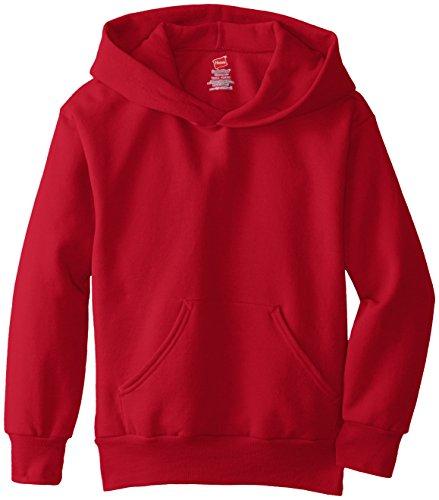 Hanes Boy's Eco Smart Fleece Pullover Hood, Deep Red, Large
