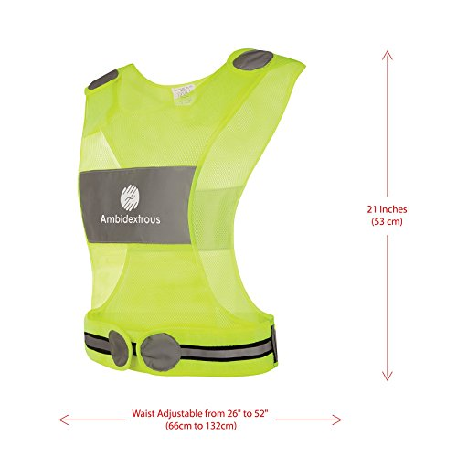 Reflective Vest for Running or Cycling + Jogging & Dog Walking | Adjustable Waist 26-52 inches | Yellow Breathable Mesh Fabric Running Vest Reflector | High Visibility Safety Gear for Men and Women