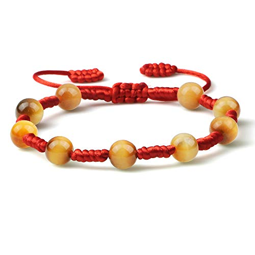 ANGYANG Woven Bracelet,Red Rope With Natural Yellow Tiger Eye Stone Beads Braided Adjustable Charm Bracelets Friendship Gift For Boy Girl Couples Men Women