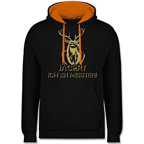 Après Ski - Jäger? Ich Bin Meister! - L - Schwarz/Orange - Geschenk - JH003 - Hoodie zweifarbig und Kapuzenpullover für Herren und Damen