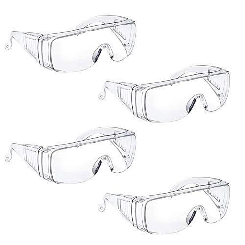 LERT 4 pezzi occhiali di protezione per gli occhi trasparenti protezione occhiali di sicurezza indossare occhiali / anti appannamento /polvere / interni / esterni / laboratorio (trasparente)