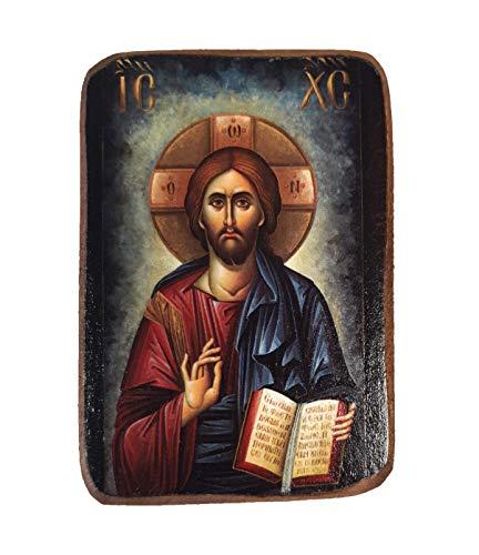 A02 Holzikone von Jesus Christus, griechisch-orthodox, Holz