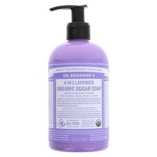 DR. BRONNER'S Lavender Sugar Soap - Luxurious cleansing for face, hands and hair - Free from synthetic surfacants - Strengthening & moisturizing - Comes with a practical pump - Vegan - 355 ml