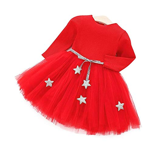 Babyjurk met lange mouwen, gebreide tutu jurk met princess tule jurk met ster band katoenmix rok voor kinderen tutu 90 rood