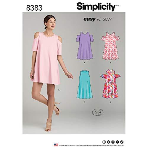 Simplicity 8383Femme Knit Trapeze Robe avec décolleté et Manches Variations, Papier, Blanc, 22x 15x 1cm