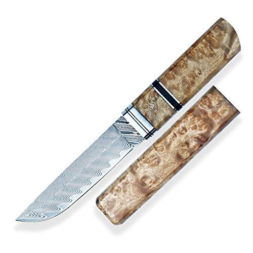 DELLINGER Japanisches Tantomesser NAMI vg-10 & Damastmesser & Damaststahl Messer & Outdoor Damastmesser 120 mm Klinge