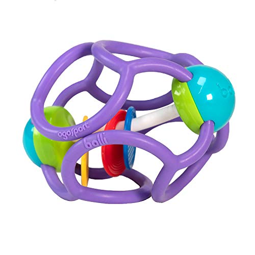 OgoBolli - Squishy Rattle Ball - Sensory Teether Toy for Babies Ages 6 Months and Up - Made from Safe, Stretchy Silicone - Non-Toxic, PVC, BPA and Phthalate-Free, Purple