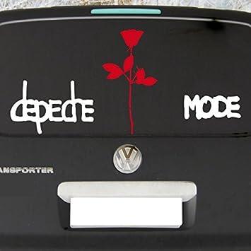 Greenit Set Groß Exciter Schriftzug Und Rose Aufkleber Tattoo Die Cut Car Decal Auto Heck Deko Folie Depeche Mode Weiß Rot Gross Auto