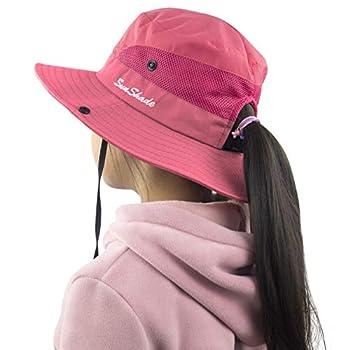 Toddler Child Kids Girls Summer Sun Hat Wide Brim UV Protection Hats Floppy Bucket Cap for Beach Fishing Gardening Pure Watermelon Red