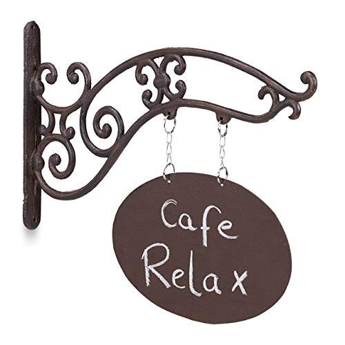 Relaxdays Letrero Puerta para Escribir, Tiendas y Bares, Estilo Vintage, Hierro Fundido, 1 Ud., 32 x 43 x 3 cm, Marrón
