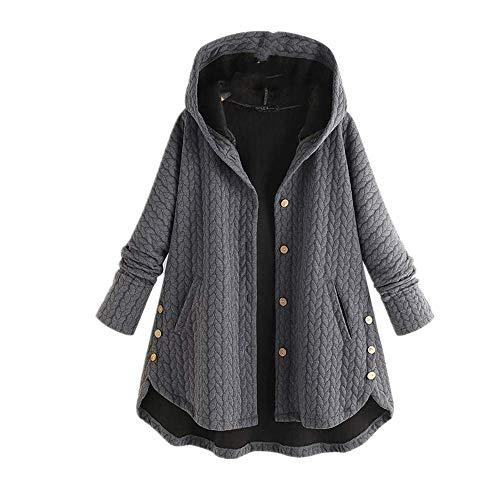 Damen Vintage Kapuzenpullover Mantel Winter Langarm Knöpfe Solid Jacken Herbst Kapuzenpullover Mantel Damen Outwear Tunika Gr. 4X-Large, grau