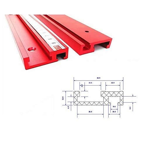 QianY-Tool - Herramienta de 45 mm de aleación de aluminio para mecanización, herramienta manual, guía en T roja, guía en T de 45 tipos, 400mm T-Schiene
