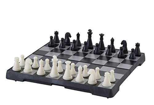 Engelhart - Schachspiel magnetisch - Einklappbar Schachbrett Pädagogische Speil mit Magnetischem, Reisen, Schwarz und weiß - (16 cm x 16 cm)