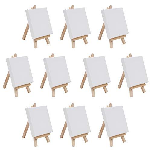 BELLE VOUS Mini Tela Con Cavalletto In Legno - (Confezione Da 10) Tela (10X10 Cm) Cavalletto (14,5 Cm) - Cavalletto In Legno Con Tela Bianca Per Disegno, Pittura A Olio, Artigianato Da Tavola