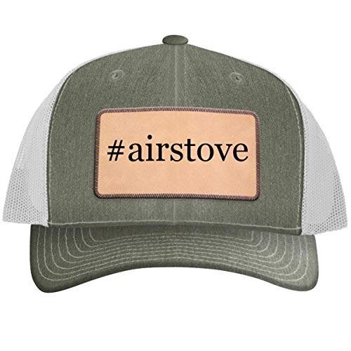 #airstove - Hashtag Leather Light Brown Patch Engraved Trucker Hat Heatherwhite, One Size