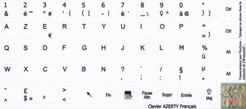 Sticker Autocollant AZERTY Clavier Français/Notebook Fond Blanc 13 * 14