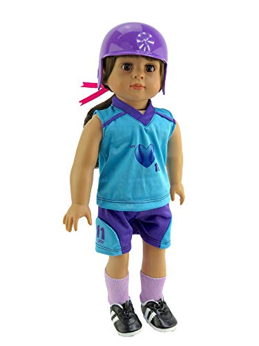 American Fashion World Teal and Purple Softball Uniform Made to fit 18 inch Dolls Such as American Girl Dolls