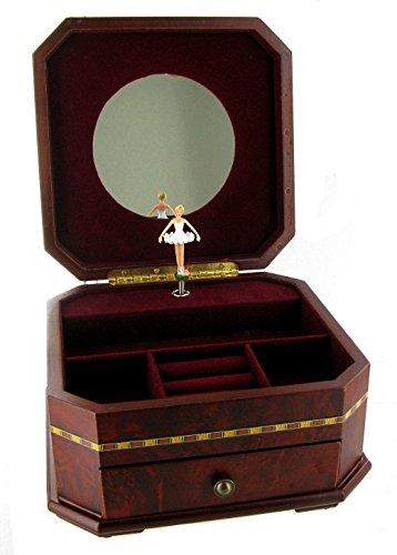 Caja de música para joyas / joyero musical de madera con bailarina girando - El lago de los cisnes (P. I. Chaikovski): Amazon.es: Hogar