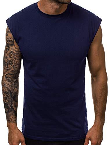 OZONEE Herren Tank Top Tanktop Tankshirt Ärmellos Bodybuilding Shirt Unterhemd T-Shirt Tshirt Tee Muskelshirt Achselshirt Trägershirt Ärmellose Training Sport Fitness O/1265 DUNKELBLAU L