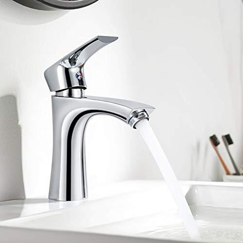 WOOHSE Moderne Wasserhahn Bad, Einhebelmischer Wschbecken aus Messing für Badezimmer, Mischbatterie inkl. Keramikkartusche und flexible Anschlussschläuche, Chrom