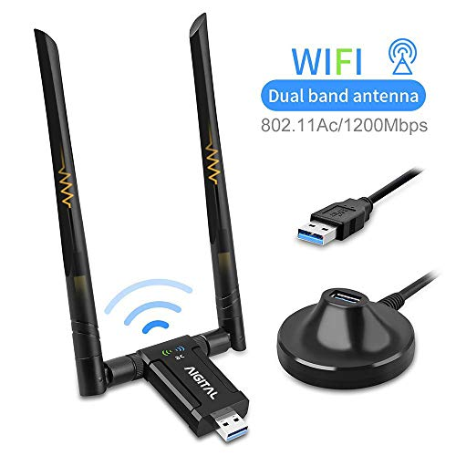 mächtig WLAN-Adapter mit 1200 Mbit / s, WLAN-Stick-Dualband mit 867 Mbit / s (5 GHz), Netzwerkempfänger mit 433 Mbit / s (2,4 GHz) (2 * 5 dBi-Antenne und USB3.0-Dockingstation mit 67 cm Kabel) für Windows / MacOS-Desktop-Laptops