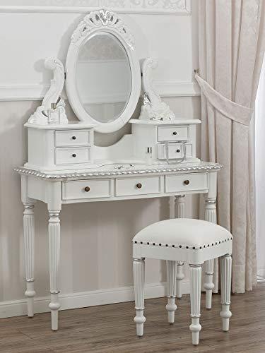 SIMONE GUARRACINO LUXURY DESIGN Coiffeuse avec Tabouret Elisabeth Style Victorien Moderne Blanc laqué et Feuille Argent Similicuir Blanc