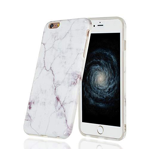 HopMore Funda Marmol para iPhone 6S / 6 (4.7 Inch) Silicona Carcasa Bumper Dibujos Marble Creativa Bonita Resistente Ultrafina Case Antigolpes Cover Protección - Blanco