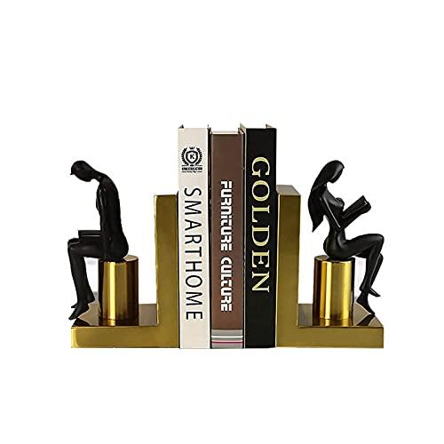 YiShuHua Decorazioni per la scrivania Decorative Bovanding, Creative Figure Desktop Golden Book Commercio Decorativo Libro Shelf Holder Man And Woman Lettura Resina Booking (Color : Black)