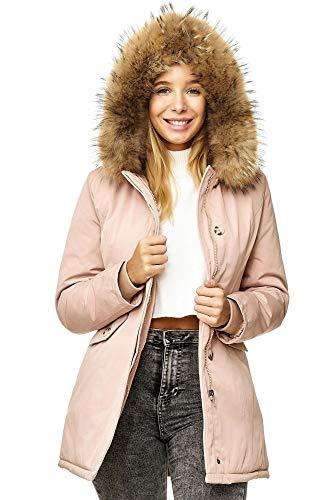 Elara Damen Winterparka | Jacke mit Echt Pelz / Echt Fell Kapuze | Designer Damenjacke | Gefütterte Outdoor Mantel | chunkyrayan, Größe 36, Farbe Pink