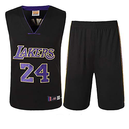 SXXRZA Basketball-Uniformen, Outdoor-Sportbekleidung, Lakers Kobe Bryant No. 24 Trikot, High-End-Stickereien, Basketball-Oberteile und Shorts.-Black-M