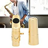 Keenso Boquilla de saxofón Alto Duradera, Boquilla de Metal de latón Chapado en Oro, Accesorios para Instrumentos Musicales
