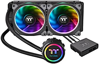 Thermaltake Floe Dual Ring RGB 240 TT Premium Edition PWM TR4 AM4 LGA2066 Ready AIO Liquid Cooling System 240mm High Efficiency Radiator CPU Cooler CL-W157-PL12SW-A