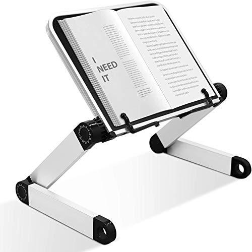 Soporte Multifuncional para computadora portátil con Ajuste de Altura y ángulo, Soporte ergonómico para Libros con Clip para páginas para Libros de Texto Grandes y Pesados